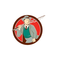 Vintage Fly Fisherman Bowler Hat Cartoon vector