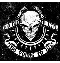 Vintage skull t shirt graphic design vector image