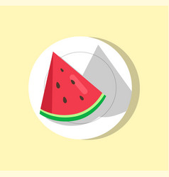 watermelon slice on plate vector image