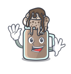 Waving milkshake character cartoon style vector