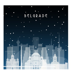 winter night in belgrade night city in flat style vector image