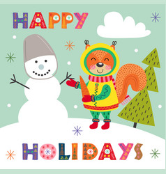 winter poster with squirrel and snowman vector image