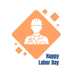 wishing happy labor day greeting card with glyph vector image
