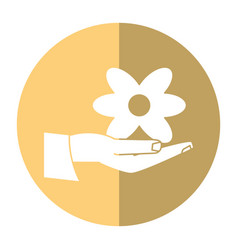 Women day hand holding flower shadow vector