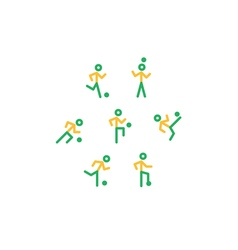 Yellow-green soccer team icons vector