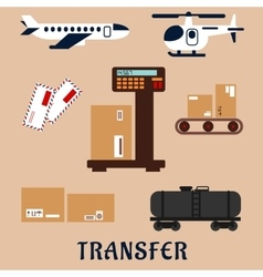 Air and rail freight service icons vector image