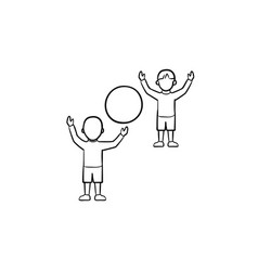 child playing with friend hand drawn sketch icon vector image