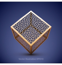 Abstract wireframe cube vector image vector image