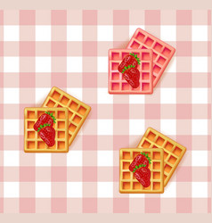 breakfast waffles on vintage pattern vector image