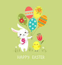 easter bunny with balloons vector image vector image