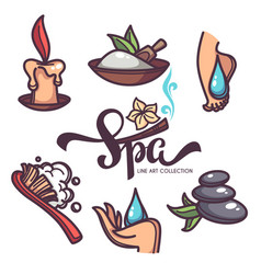 Nail foot hand spa and care objects and icons vector
