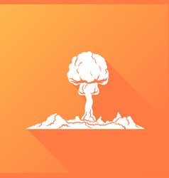 nuclear explosion white silhouette concept vector image