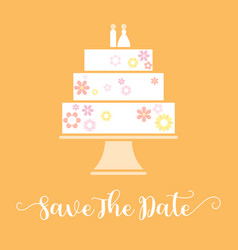 save the date with wedding cake vector image vector image