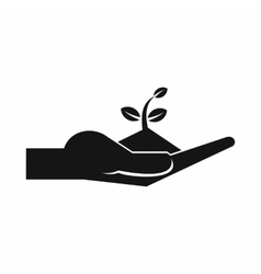 Sprout in the human hand icon simple style vector image vector image
