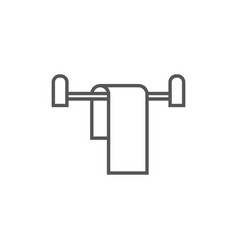 towel on hanger isolated icon in linear style vector image vector image
