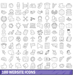100 website icons set outline style vector image vector image