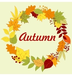 Autumnal frame with colorful leaves and herbs vector image