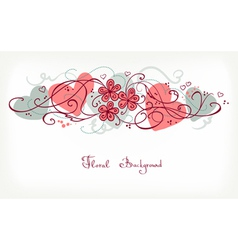 Cute Floral Background Retro Card vector image