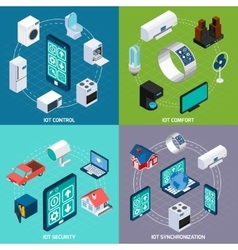 Iot 4 isometric icons square banner vector image