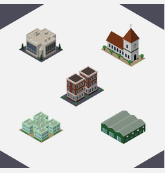 isometric building set of warehouse house clinic vector image vector image