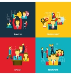 Leadership in business icons set vector image vector image