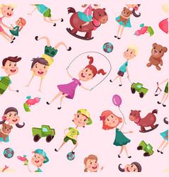 seamless pattern with school or kindergarten kids vector image vector image