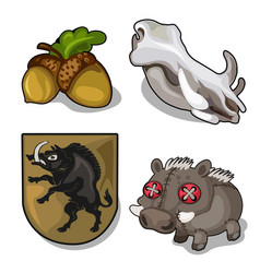 Set isolated of wild boar theme and acorn vector
