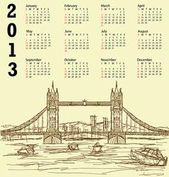 tower bridge vintage calendar 2013 vector image vector image