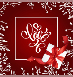 valentine card with vintage handwriting lettering vector image vector image