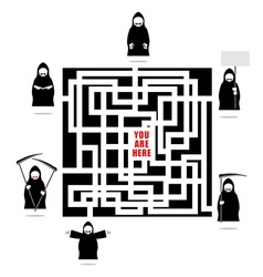 Labyrinth of life Life ends with death In any vector image vector image