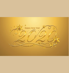 2020 happy new year lettering banner design with vector image
