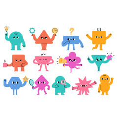 abstract characters geometric comic creature vector image