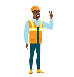 african-american builder showing victory gesture vector image vector image