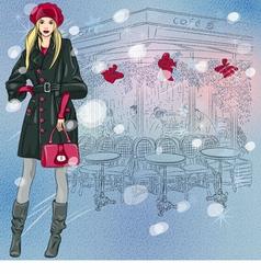 beautiful fashionable girl near parisian cafe vector image