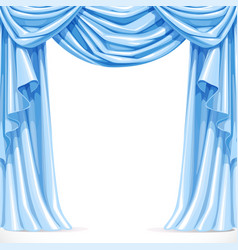 Big blue curtain draped with pelmet isolated on a vector image