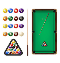 billiard balls and table 3d realistic vector image