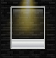 Blank photoframe on black wall vector