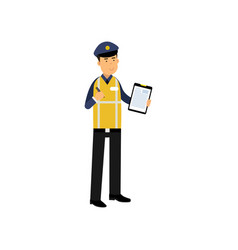 cartoon traffic policeman standing and holding vector image