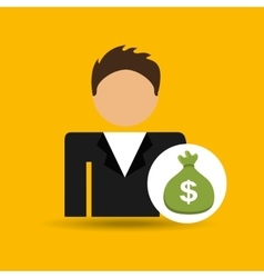 character man green bag money icon vector image