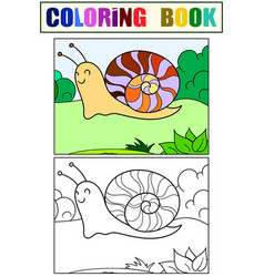 children color and coloring slug snail in the vector image