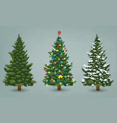 christmas tree set for greeting card invitation vector image