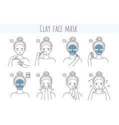Clay face mask application and removal steps vector