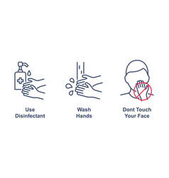 coronavirus precaution tips linear icons on white vector image