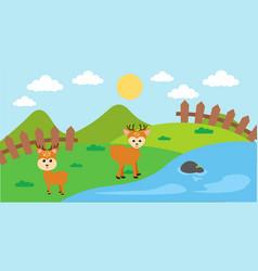 Deer cute animals in cartoon style wild animal vector