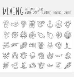 Diving hand draw icon set diving equipment vector