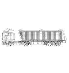 Dump truck isolated white vector