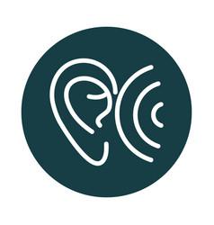 Ear wave audio sound block style icon vector