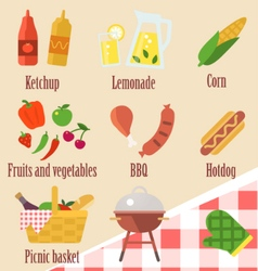 elements of a barbecue party vector image