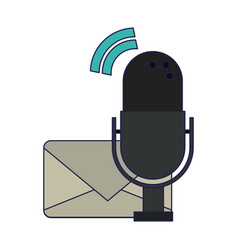 email and vintage microphone vector image