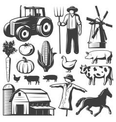 Farming Monochrome Elements Set vector image